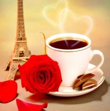 """Набор алмазной вышивки  """"Кофе и красная роза"""""""