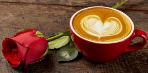 """Набор алмазной вышивки """"Кофе в красном с розой"""""""