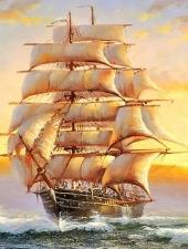 """Набор алмазной вышивки """"Кораблик на восходе"""""""
