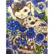 """Набор алмазной вышивки """"Кошка в цветах"""""""