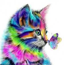 """Набор алмазной мозаики """"Котенок с бабочкой"""""""