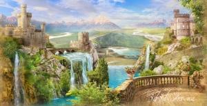 """Набор алмазной мозаики """"Крепости с водопадами"""""""