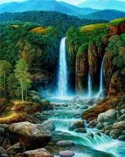 """Набор алмазной мозаики """"Лесной водопад"""""""