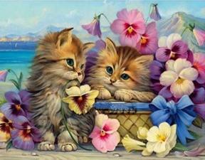 """Набор алмазной вышивки """"Милые котики в цветах"""""""
