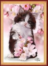 """Набор алмазной вышивки """"Милый котик в цветах"""""""