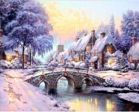 """Набор алмазной мозаики """"Мостик и избушка. Зима"""""""