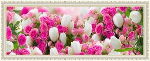 """Набор алмазной вышивки """"Нежные розовые розы и белые тюльпаны"""""""
