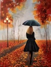 """Набор алмазной мозаики """"Осень. Под зонтом"""""""