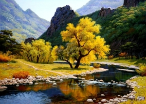 """Набор алмазной вышивки """"Осень в горах"""""""