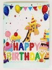 Набор алмазной мозаики. Открытка с Днем Рождения. С жирафом.