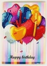 Набор алмазной мозаики. Открытка с Днем Рождения. Шарики сердечки.