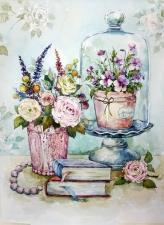 """Набор алмазной мозаики """"Прованс. Книги и нежные цветы"""""""