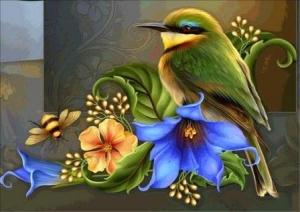 """Набор алмазной мозаики """"Птичка с цветами"""""""
