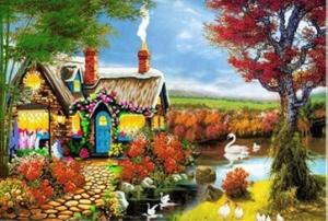 """Набор алмазной вышивки """"Райский домик у пруда"""""""