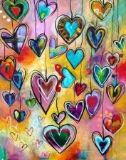 """Набор алмазной вышивки """"Разноцветные сердечки"""""""