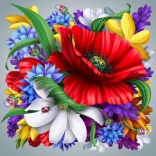 """Набор алмазной вышивки """"Разноцветный цветок"""""""