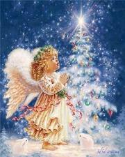 """Набор алмазной вышивки """"Рождественский ангелочек с зайчиками"""""""