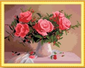 """Набор алмазной мозаики """"Розы в вазе"""""""