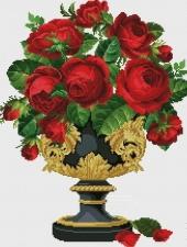 """Набор алмазной мозаики """"Розы в золотой вазе"""""""