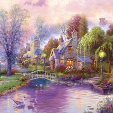 """Набор алмазной мозаики """"Сказочный домик с лебедями"""""""