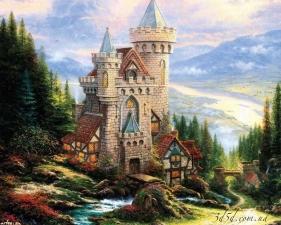 """Набор алмазной вышивки """"Старинный замок, худ. Кинкейд Томас"""""""