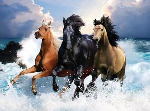 """Набор алмазной мозаики """"Три лошади на берегу моря"""""""