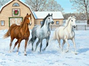 """Набор алмазной вышивки """"Три лошади в снегу"""""""