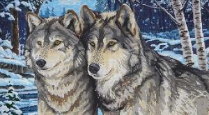 """Набор алмазной вышивки """"Верность. Два волка зимой"""""""