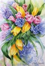 """Набор алмазной мозаики """"Весенний букет с тюльпанами"""""""