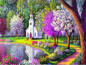 """Набор алмазной мозаики """"Весенний пруд"""""""