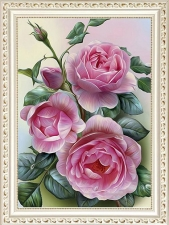 """Набор алмазной вышивки """"Ветка розы. Розовые розы"""""""