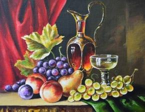 """Набор алмазной мозаики """"Вино, виноград, персики"""""""