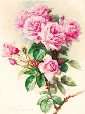"""Набор алмазной мозаики """"Винтажная акварель розы, худ. Paul de Longpre """""""