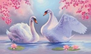 """Набор алмазной вышивки """"Влюбленные лебеди. Всегда вместе"""""""