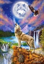"""Набор алмазной мозаики """"Волк и орел"""""""