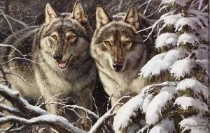 """Набор алмазной мозаики """"Волки в лесу"""""""