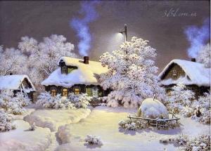 """Набор алмазной вышивки """"Зима в деревушке"""""""