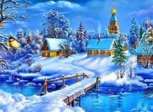 """Набор алмазной вышивки """"Зимний пейзаж. Свет Рождества"""""""