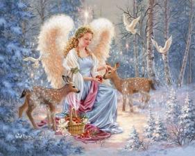 """Набор алмазной вышивки """"Ангел с оленятами"""""""