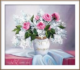 """Набор алмазной мозаики """"Сирень и розы"""""""